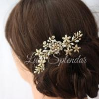 Gold Bridal Hair Comb Sparkly Crystal Flower Comb Ivory ...