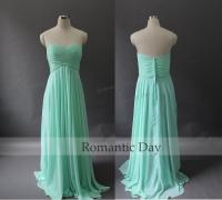 2015 Sweetheart A-Line Long Chiffon Mint Green/Coral ...