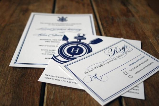 Modern Vintage Nautical Wedding Invitations Anchor
