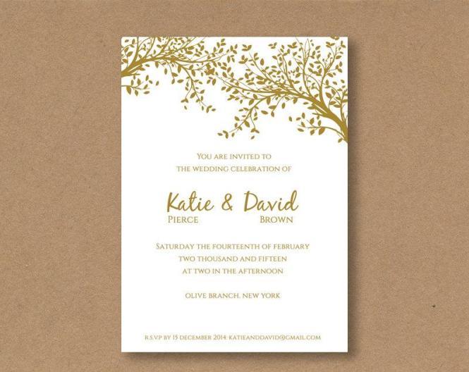 Diy Editable And Printable Wedding Invitation Template Gold