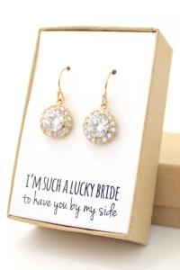 Clear Crystal / Gold Round Cubic Zirconia Earrings With ...