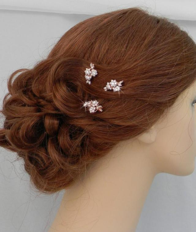 rose gold bridal hair pins, bridal hair comb, vintage style