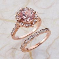 Vintage Bridal Set Morganite Engagement Ring And Scalloped ...