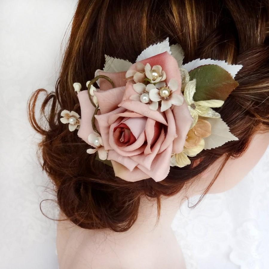bridal headpiece bridal hair piece wedding hairpiece floral hair comb pink flower hair clip mauve vintage hair clips hair accessories