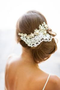 GOLD Crystals And Ivory Lace Hair Accessory. Handmade