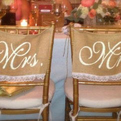 Mr And Mrs Chair Signs Red Covers Burlap Wedding Lace Decorations