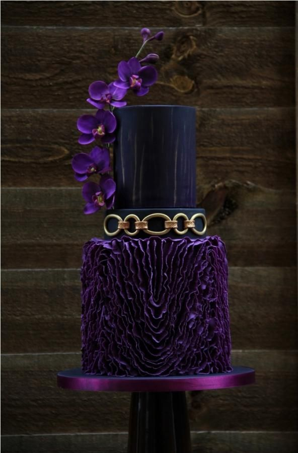 Wedding Theme  Purple Black And Gold Wedding Cake