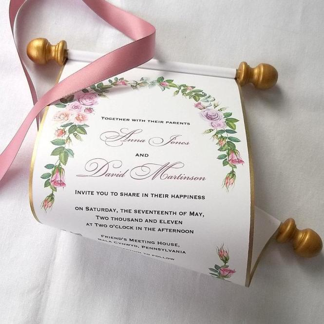 Boho Chic Wedding Invitations Scroll