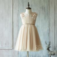 2015 Champagne Flower Girl Dress, Junior Bridesmaid Dress ...