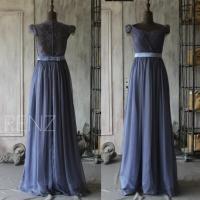 2015 Steel Blue Bridesmaid Dress, Cap Sleeve Wedding Dress ...