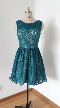 2015 V-back Dark Teal Lace Short Bridesmaid Dress #2427140 ...