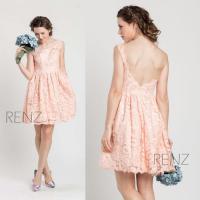 2015 Blush Lace Bridesmaid Dress, Short Wedding Dress, A ...