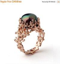 Christmas SALE - CORAL Black Pearl Ring, Unique Rose Gold ...
