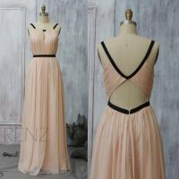2015 Peach Bridesmaid Dress, Blush Wedding Dress, Long ...