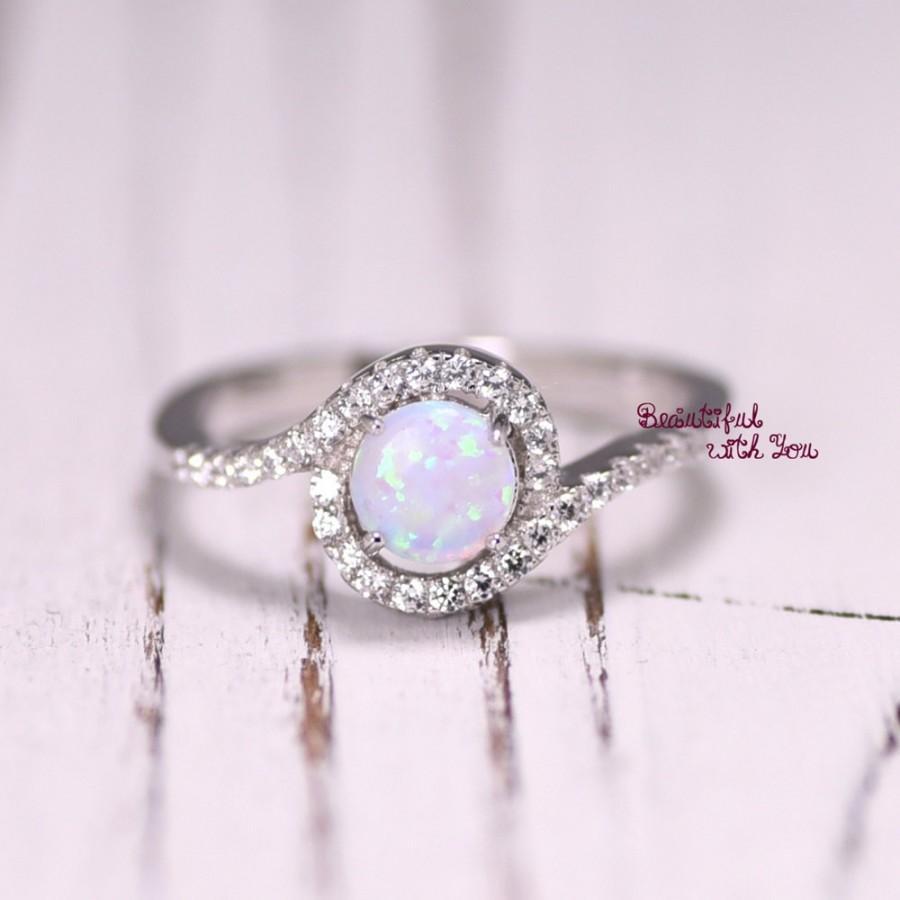 Silver Lab Opal Ring, White Opal Ring, Opal Wedding Band