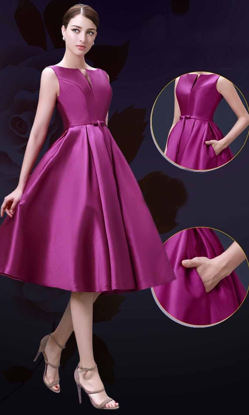 Elegance Slash Pocket Mid Length Formal Bridesmaid Dresses