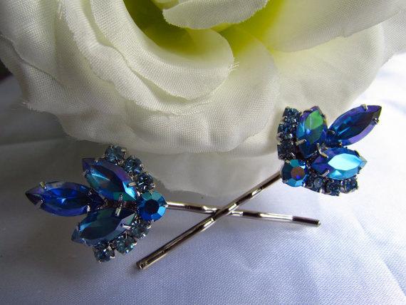 sapphire blue bridal hair comb blue bridal hair accessories blue wedding hair pins blue wedding hair comb blue wedding hair accessories