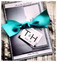 Teal Wedding Invitations, Silver Glitter Wedding ...