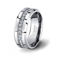 Mens Wedding Band High End Tungsten Ring Stacked CZ ...