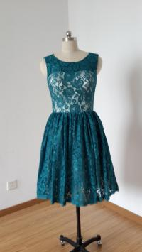 2015 Scoop Dark Teal Lace Champagne Lining Short ...