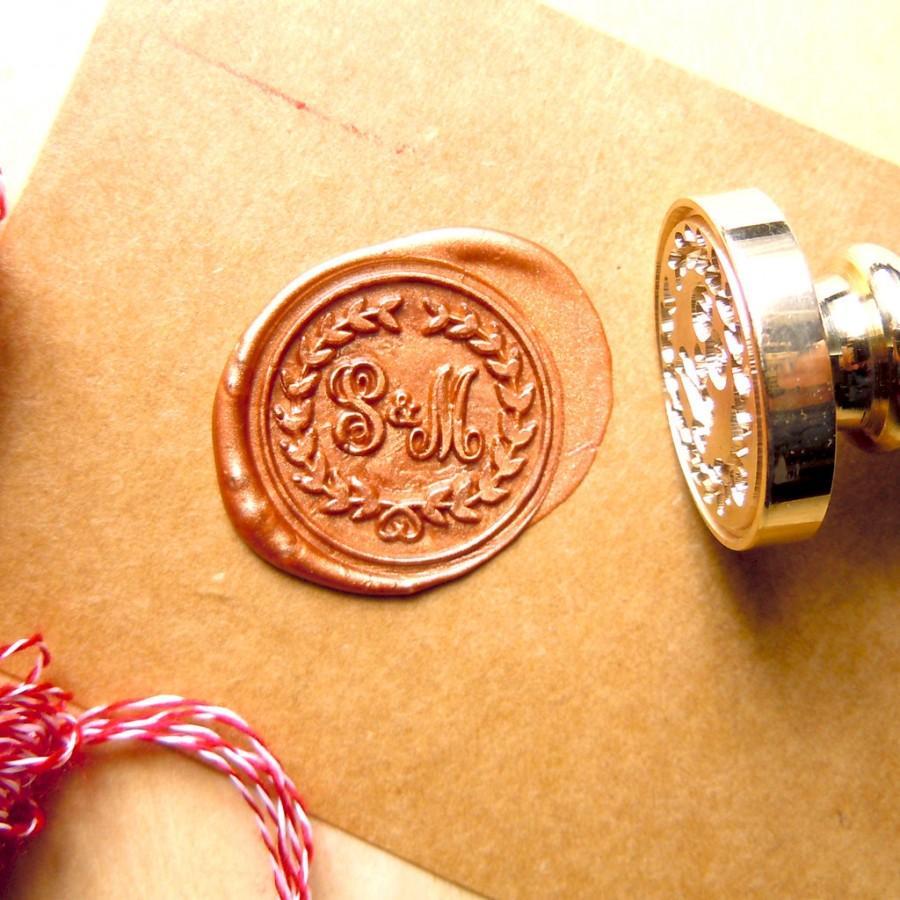 Wax Seal Stamp Monogram Initials Wreath Stamps Custom