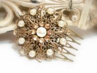Bridal Hair Comb, Antique Gold Headpiece, Vintage Style ...