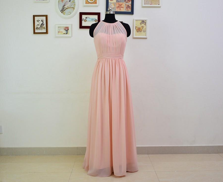 Long Chiffon Bridesmaid Dresses Long Pearl Pink