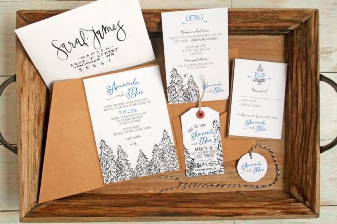 Pine Tree Pencil Drawing Wedding Invitation Outdoor