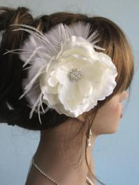 Ivory(White) Bridal Flower Hair Clip Wedding Accessory ...