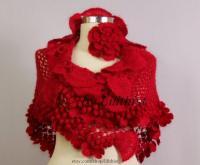 Red Crochet Shawl Wrap, Flower Shawl, Bridal Shrug Shawl ...