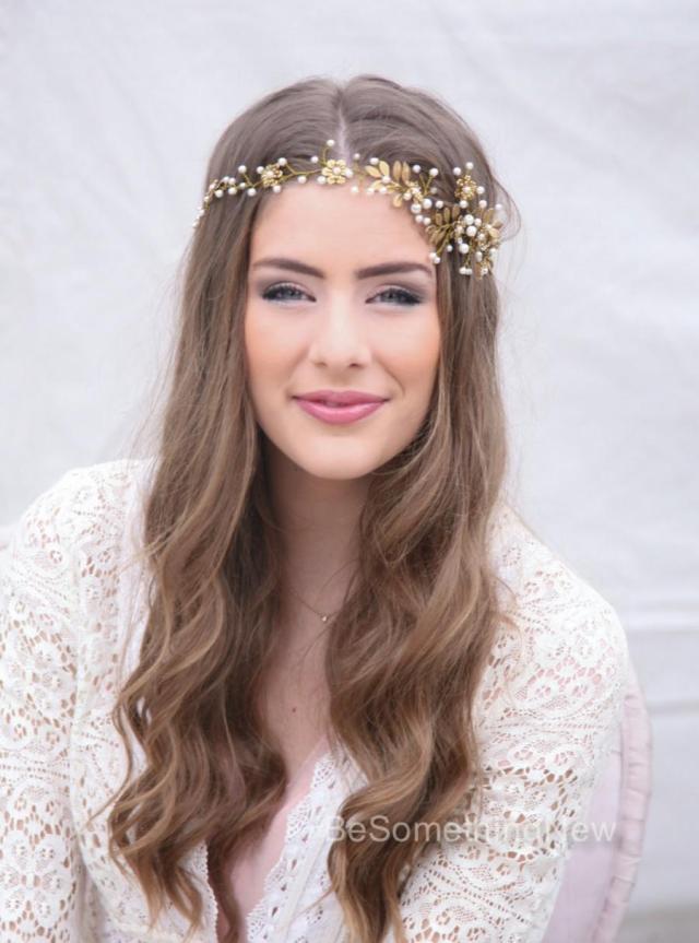 wedding hair vine, brass flower and leaf bridal headpiece