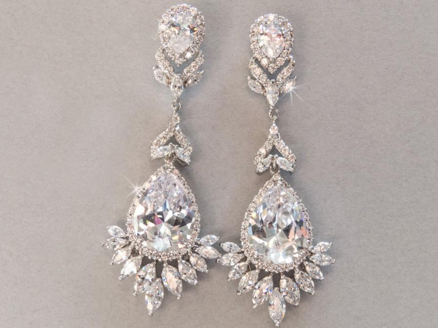 Statement Bridal Earring, Rhinestone Crystal CZ Bridal