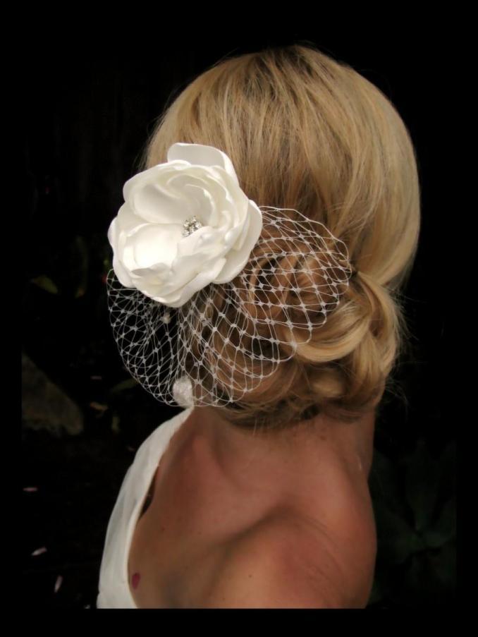 millie bridal hair flower, ivory satin floral fascinator