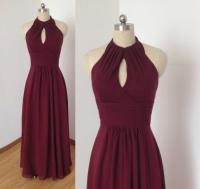 Tied Halter Burgundy Chiffon Long Bridesmaid Dress ...