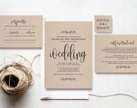 Kraft Wedding Invitation Printable, Rustic Invitation Set ...
