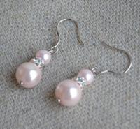 Pale Pink Pearl Earrings,dangle Pearl Earrings,pearl