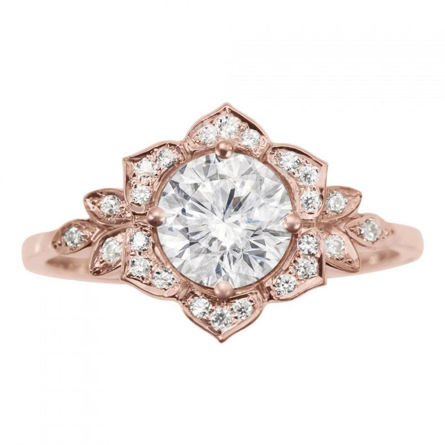 Delicate Lily Ring, Art Deco Flower Ring, Rose Gold