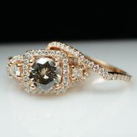18k Rose Gold Champagne Diamond Engagement Ring & Wedding ...