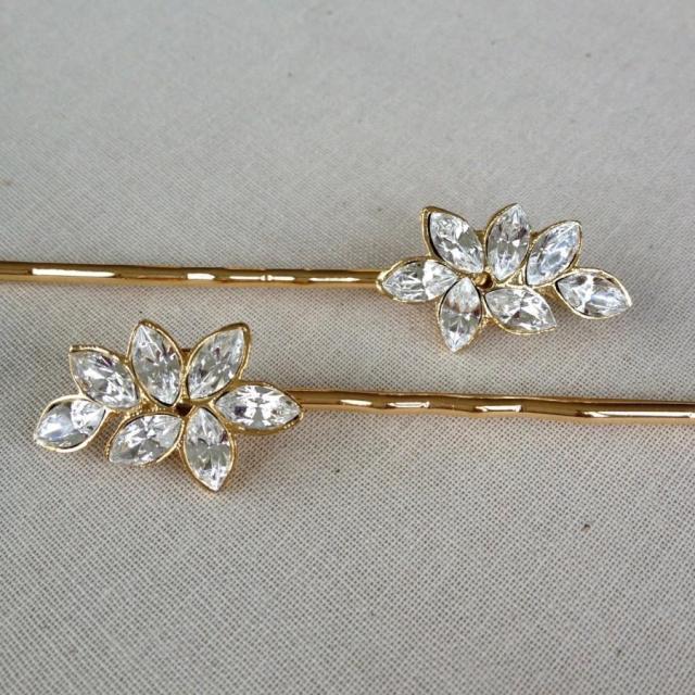 swarovski crystal, rhinestone leaf, bobby pin, jewelry, gold