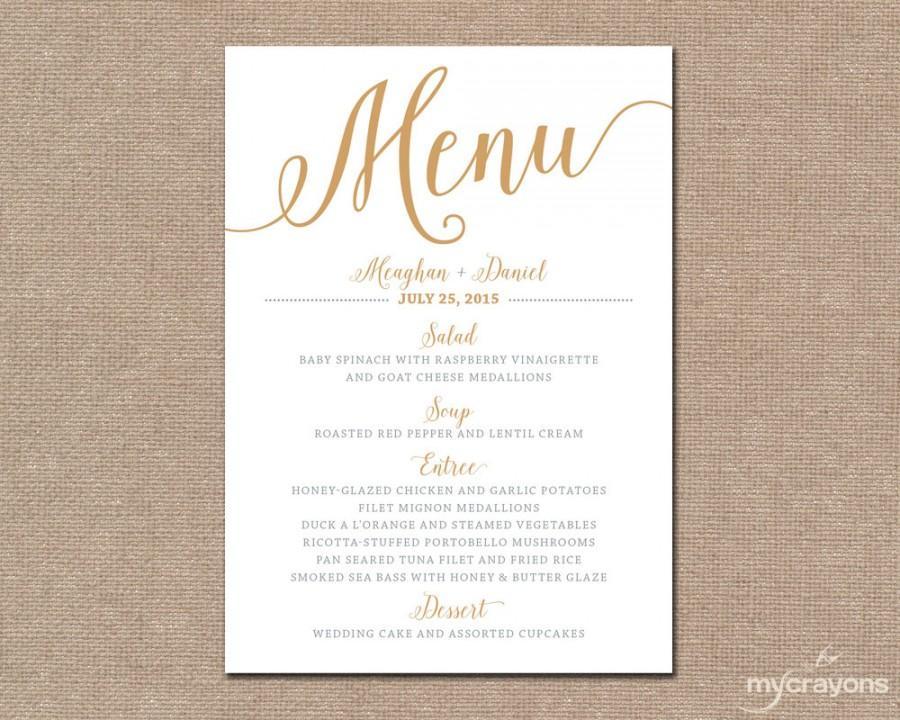 Gold Wedding Menu Card Printable Wedding Menu Bella