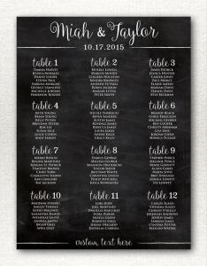 Simple  rustic chalkboard style wedding seating chart printable alphabetical custom sizes color available also rh ardbook