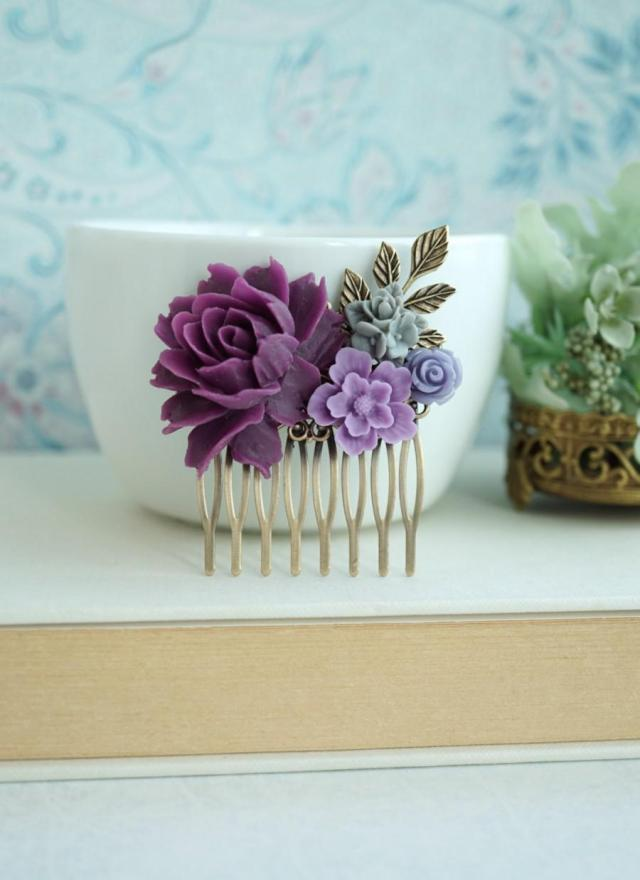 purple amethyst, lavender, grey flower, purple rose, brass