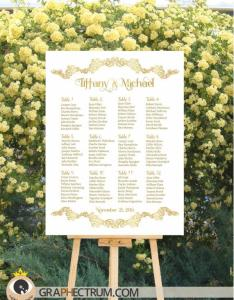 Wedding seating chart diy printable floral gold crown sign reception table plan find your seat assignment board   pdf also rh weddbook
