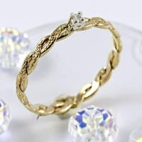 Braided Gold Filled Ring, Delicate Cubic Zirconia ...