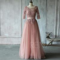 2015 Dusty Rose Bridesmaid Dress, A Line Mesh Wedding ...