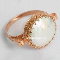 14K Rose Gold Ring, Gold Pearl Ring, Coin Pearl Ring, Gold