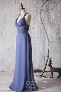2015 Steel Blue Bridesmaid Dress Chiffon, Halter Strape ...