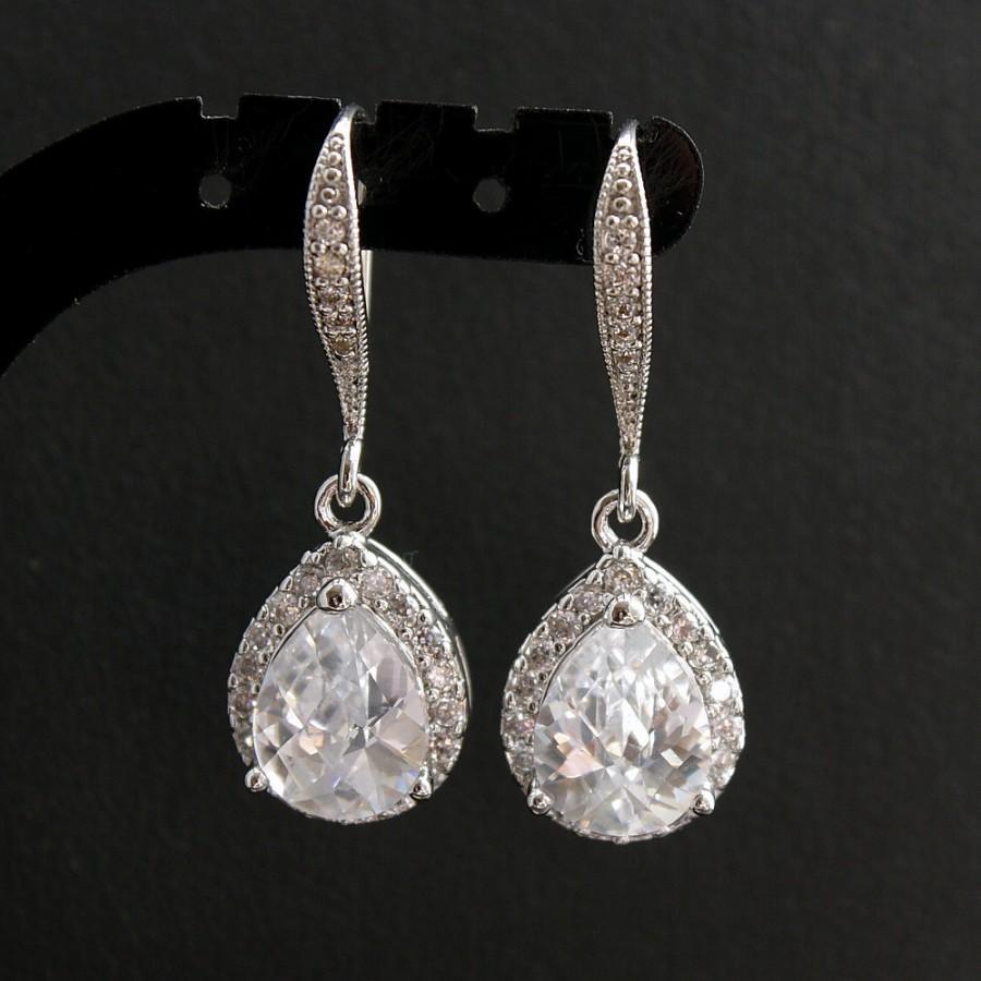 Crystal Drop Earrings Wedding Silver Pearl Stud Earrings