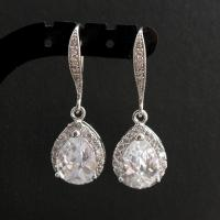 Crystal Drop Earrings Wedding Silver Pearl Stud Earrings