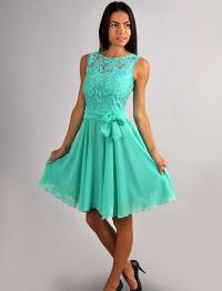 Chiffon Bridesmaid Dress .Aqua Mint Lace Top Dress.Party ...